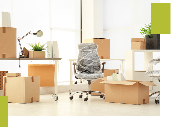 Image of an office that is getting ready for a move.
